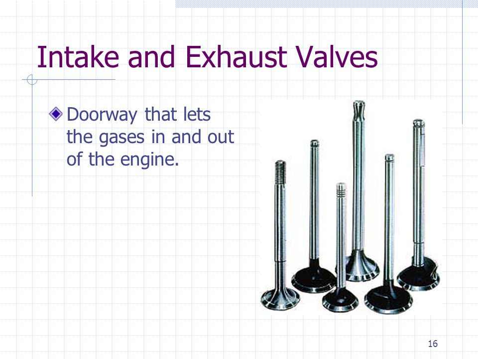 16 Intake and Exhaust Valves Doorway that lets the gases in and out of the engine.