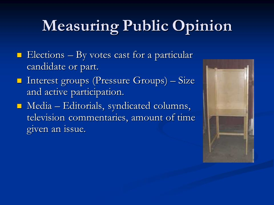 Measuring Public Opinion Elections – By votes cast for a particular candidate or part. Elections – By votes cast for a particular candidate or part. I