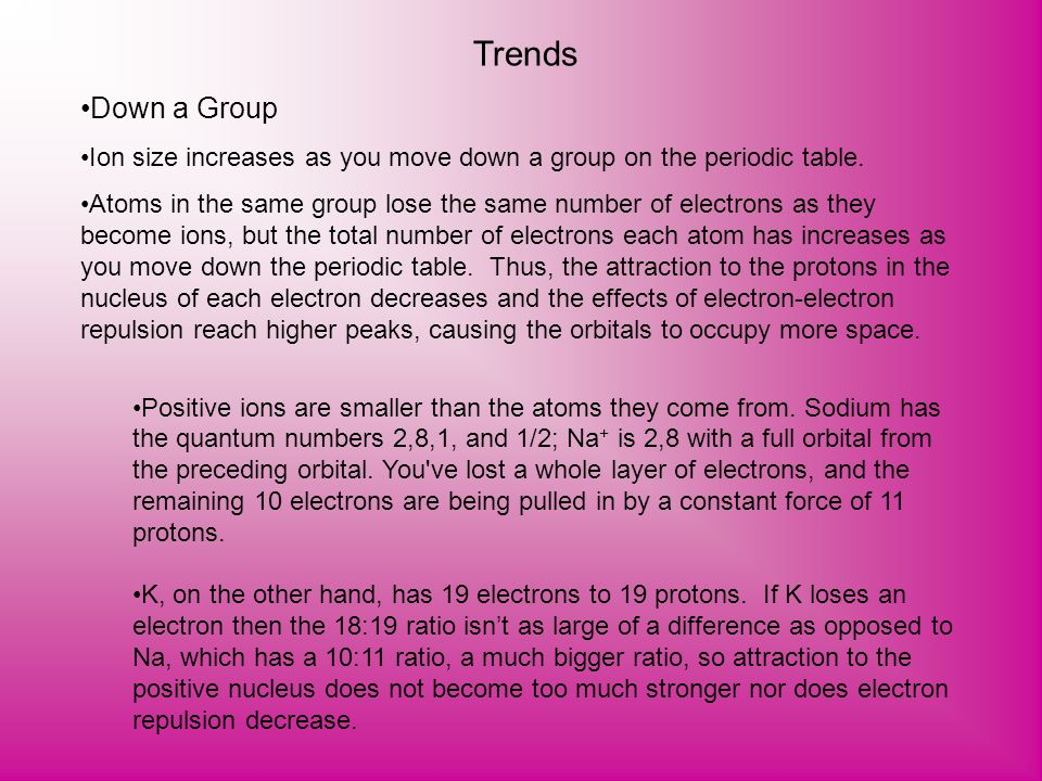 Trends Down a Group Ion size increases as you move down a group on the periodic table. Atoms in the same group lose the same number of electrons as th