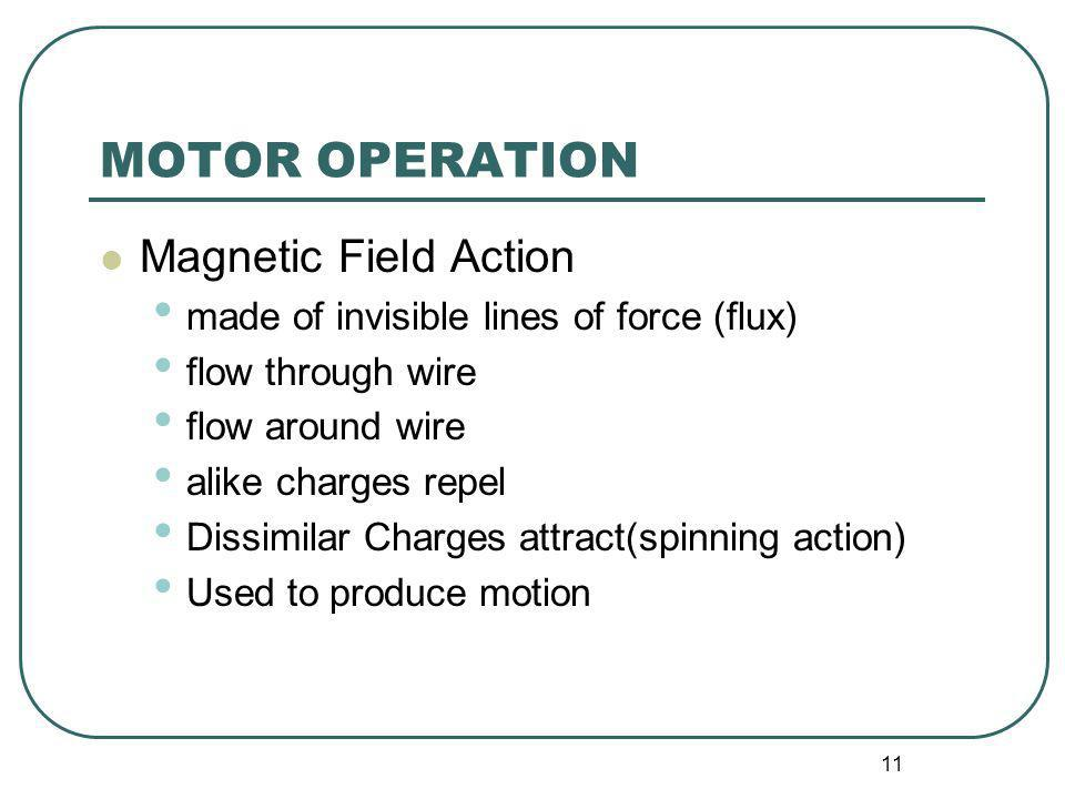 11 MOTOR OPERATION Magnetic Field Action made of invisible lines of force (flux) flow through wire flow around wire alike charges repel Dissimilar Cha