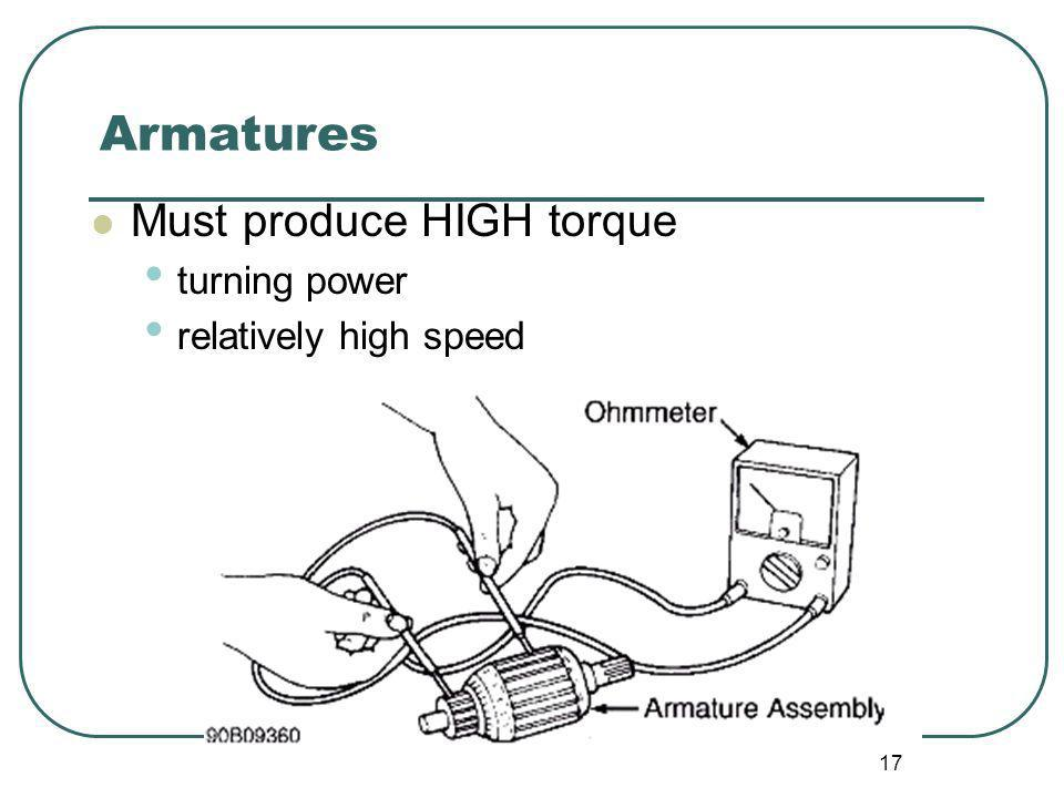 17 Armatures Must produce HIGH torque turning power relatively high speed