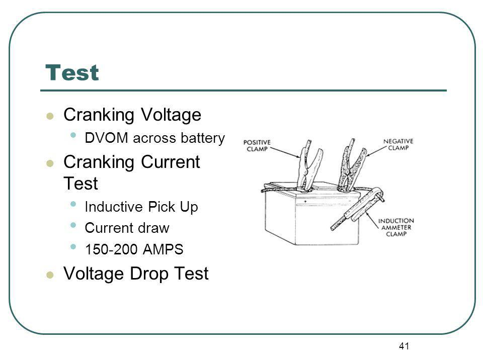 41 Test Cranking Voltage DVOM across battery Cranking Current Test Inductive Pick Up Current draw 150-200 AMPS Voltage Drop Test