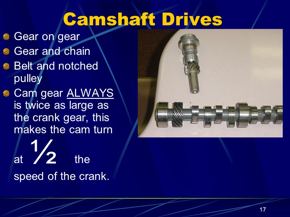 17 Camshaft Drives Gear on gear Gear and chain Belt and notched pulley Cam gear ALWAYS is twice as large as the crank gear, this makes the cam turn at