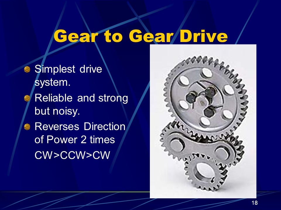 18 Gear to Gear Drive Simplest drive system. Reliable and strong but noisy. Reverses Direction of Power 2 times CW>CCW>CW