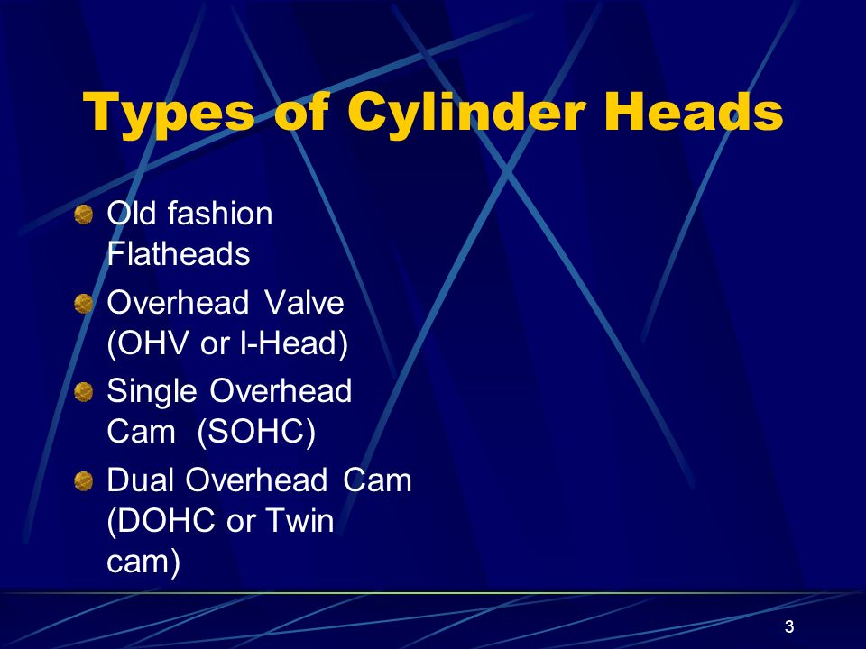 3 Types of Cylinder Heads Old fashion Flatheads Overhead Valve (OHV or I-Head) Single Overhead Cam (SOHC) Dual Overhead Cam (DOHC or Twin cam)