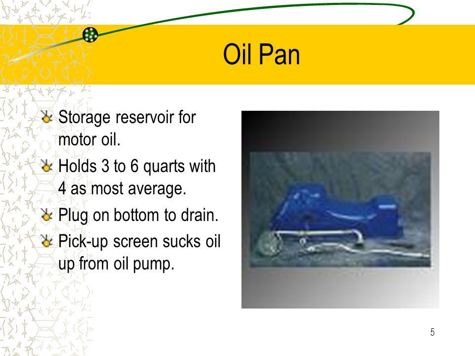 4 Lubricating System Parts Oil pan Oil pump Pick-up screen Pressure regulator Oil filter By-pass valve Oil galleries Dipstick Pressure indicator