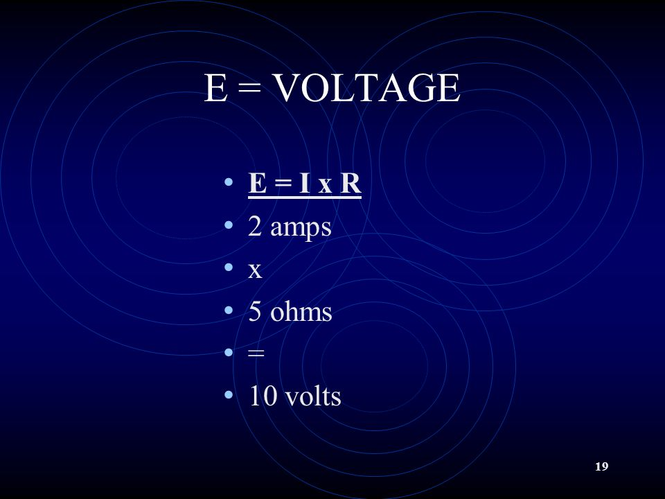 18 OHMs Law E = Voltage I = Current R = Resistance It requires one VOLT to push one AMP through one OHM of resistance.