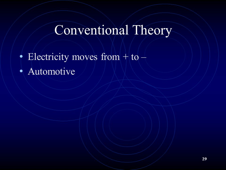 28 Electron Theory Electricity moves from - to + Electricians Scientists