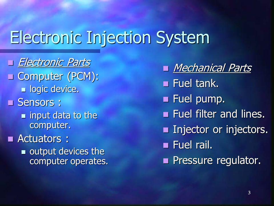 3 Electronic Injection System Electronic Parts Electronic Parts Computer (PCM): Computer (PCM): logic device. logic device. Sensors : Sensors : input