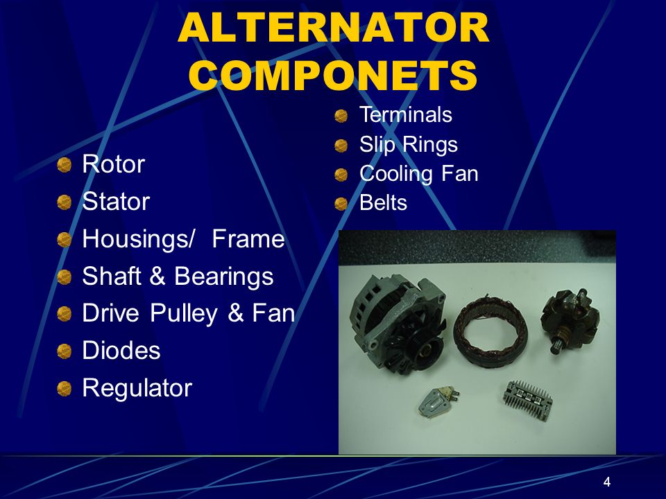 4 ALTERNATOR COMPONETS Rotor Stator Housings/ Frame Shaft & Bearings Drive Pulley & Fan Diodes Regulator Terminals Slip Rings Cooling Fan Belts