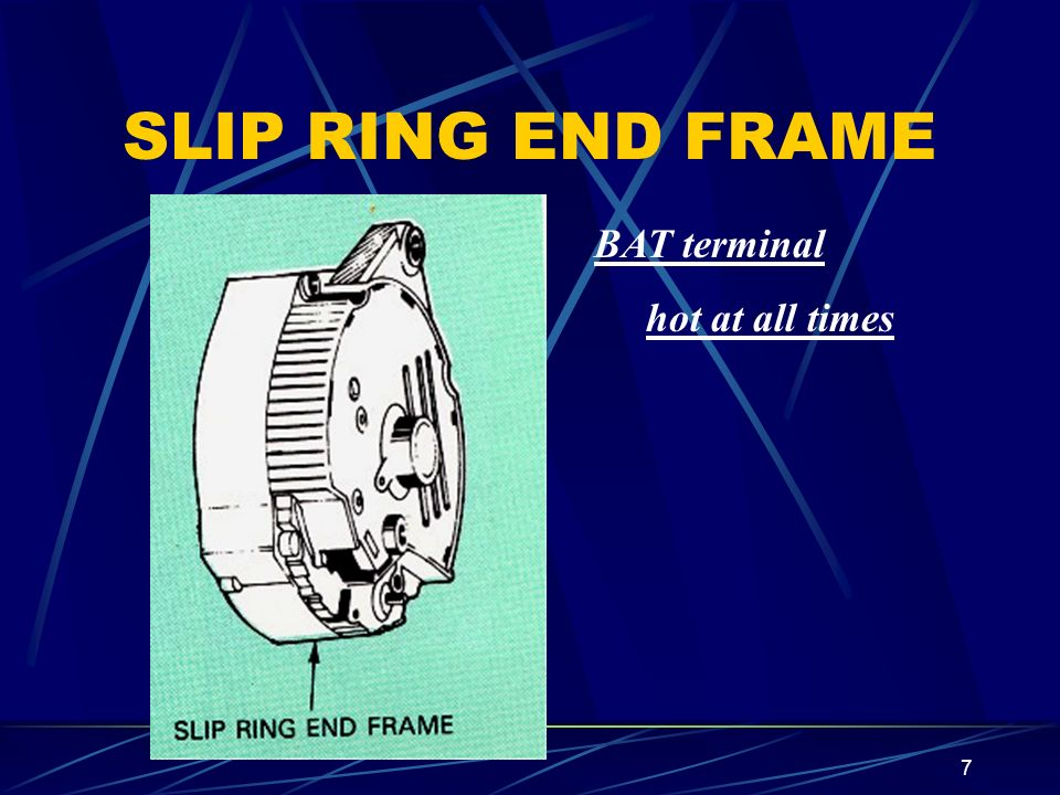 7 SLIP RING END FRAME BAT terminal hot at all times