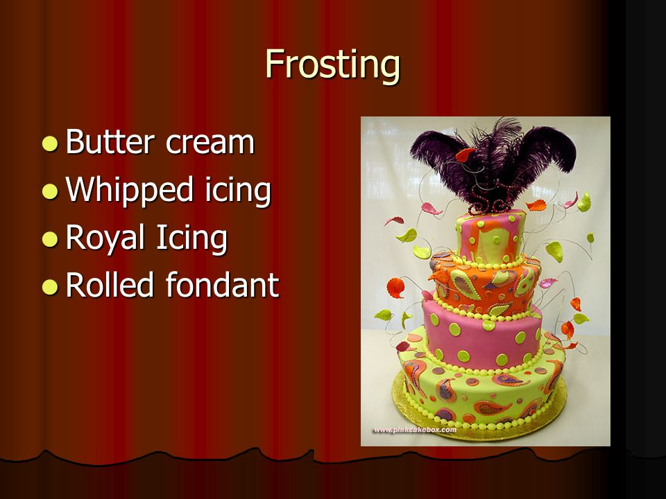 Frosting Butter cream Butter cream Whipped icing Whipped icing Royal Icing Royal Icing Rolled fondant Rolled fondant