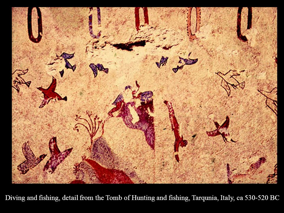 Diving and fishing, detail from the Tomb of Hunting and fishing, Tarqunia, Italy, ca 530-520 BC