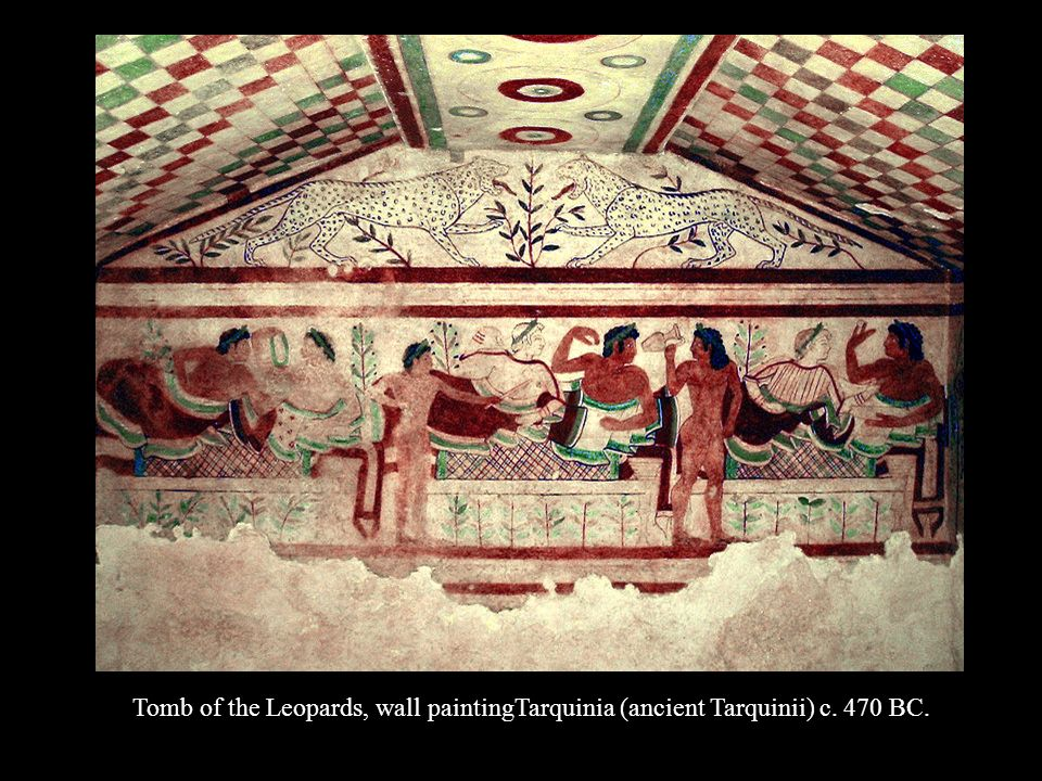 Tomb of the Leopards, wall paintingTarquinia (ancient Tarquinii) c. 470 BC.