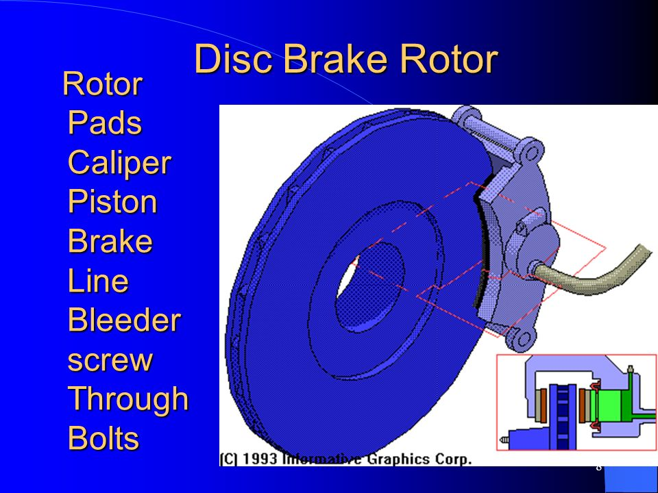 7 DISC BRAKES Disc brakes use a rotating disc with two stationary friction pads that are pressed against to rotor by the caliper to create friction an