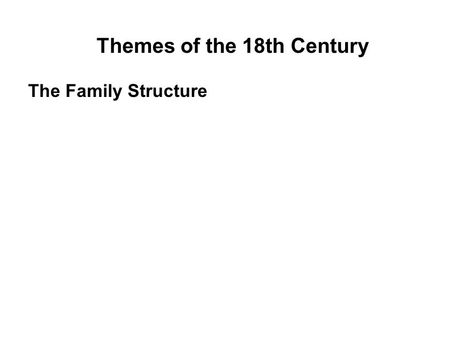 Themes of the 18th Century The Family Structure