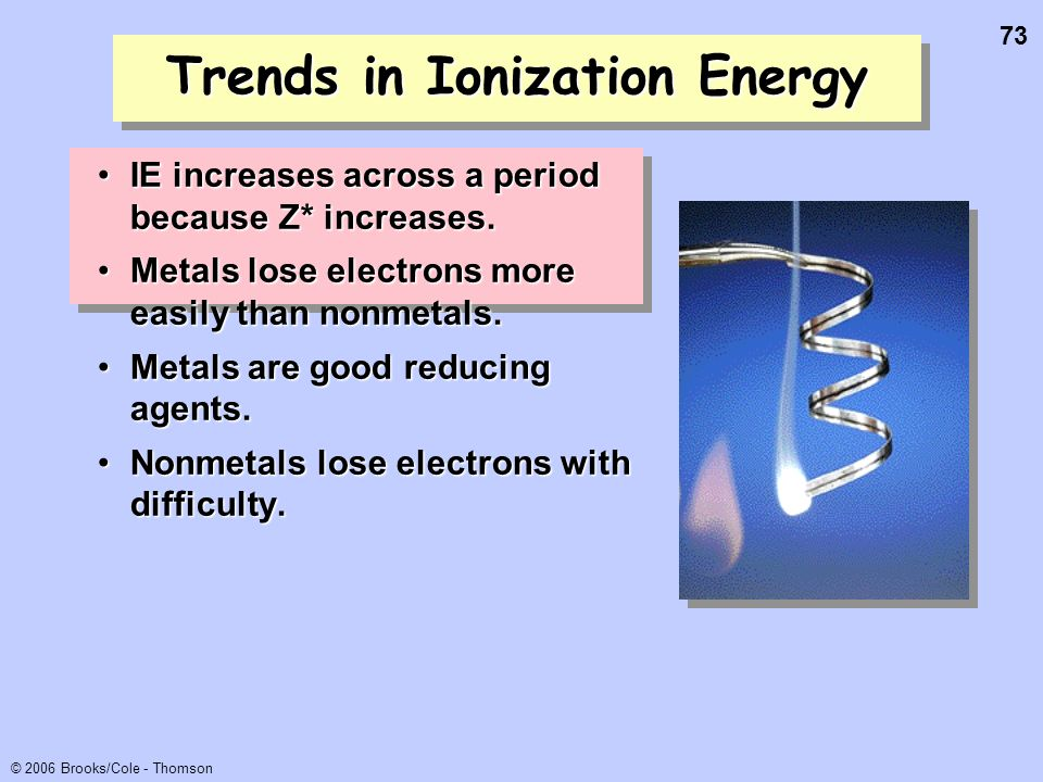 73 © 2006 Brooks/Cole - Thomson Trends in Ionization Energy IE increases across a period because Z* increases.IE increases across a period because Z*
