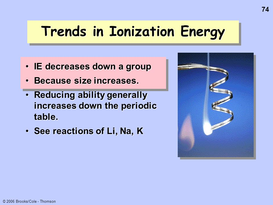 74 © 2006 Brooks/Cole - Thomson Trends in Ionization Energy IE decreases down a groupIE decreases down a group Because size increases.Because size inc