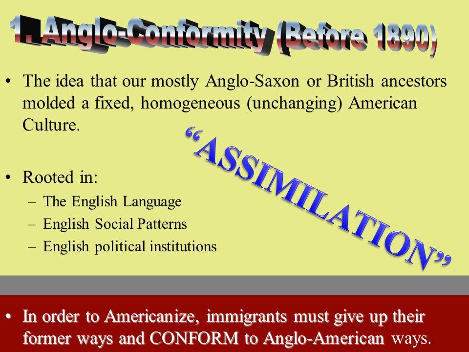 1. Anglo Conformity 2. Melting Pot 3. Cultural Pluralism