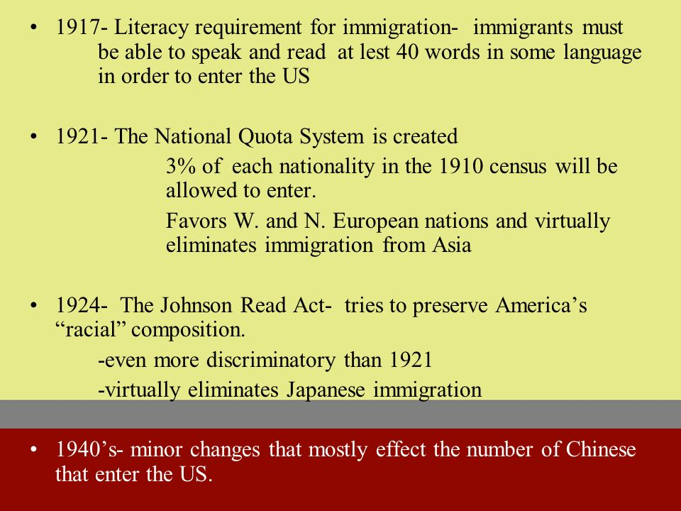 1882- Chinese Exclusion Act - immigration by Chinese laborers is banned for ten years.