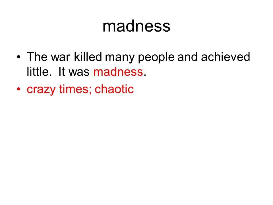 madness The war killed many people and achieved little. It was madness. crazy times; chaotic