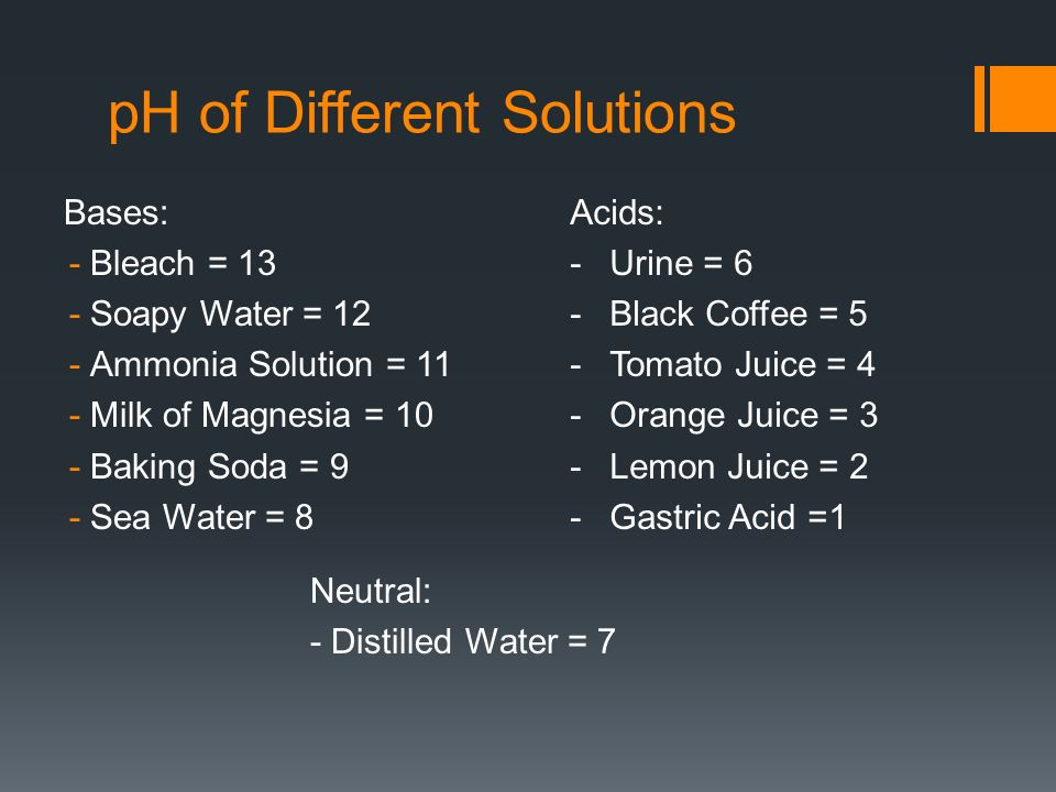 pH of Different Solutions Bases: -Bleach = 13 -Soapy Water = 12 -Ammonia Solution = 11 -Milk of Magnesia = 10 -Baking Soda = 9 -Sea Water = 8 Acids: -Urine = 6 -Black Coffee = 5 -Tomato Juice = 4 -Orange Juice = 3 -Lemon Juice = 2 -Gastric Acid =1 Neutral: - Distilled Water = 7