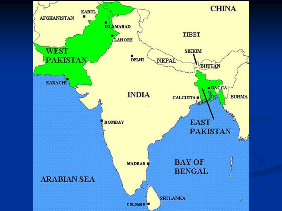 BANGLADESH Pakistan: After independence from Great Britain, Pakistan was split into two parts separated by India East Pakistan West Pakistan The two p