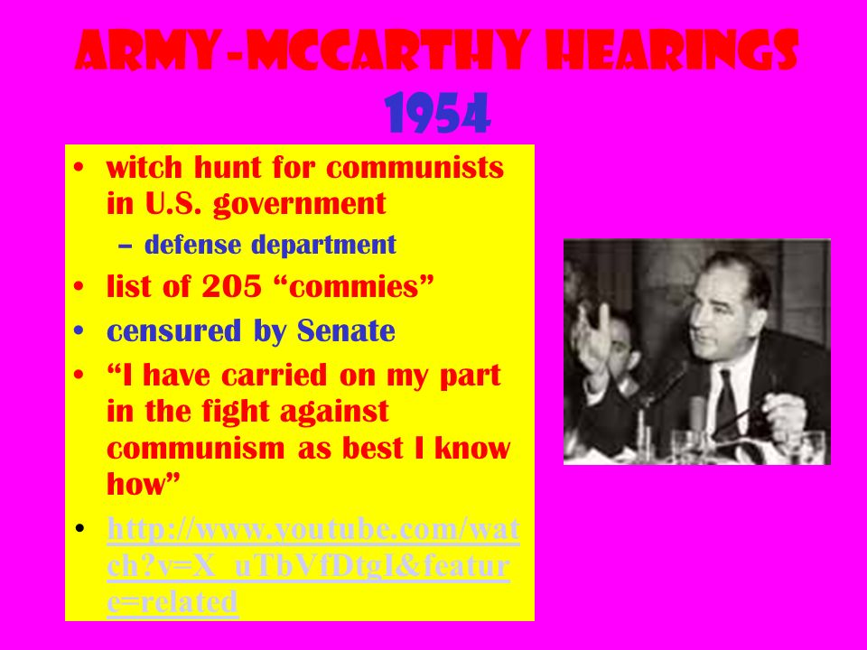Army-McCarthy Hearings 1954 witch hunt for communists in U.S.