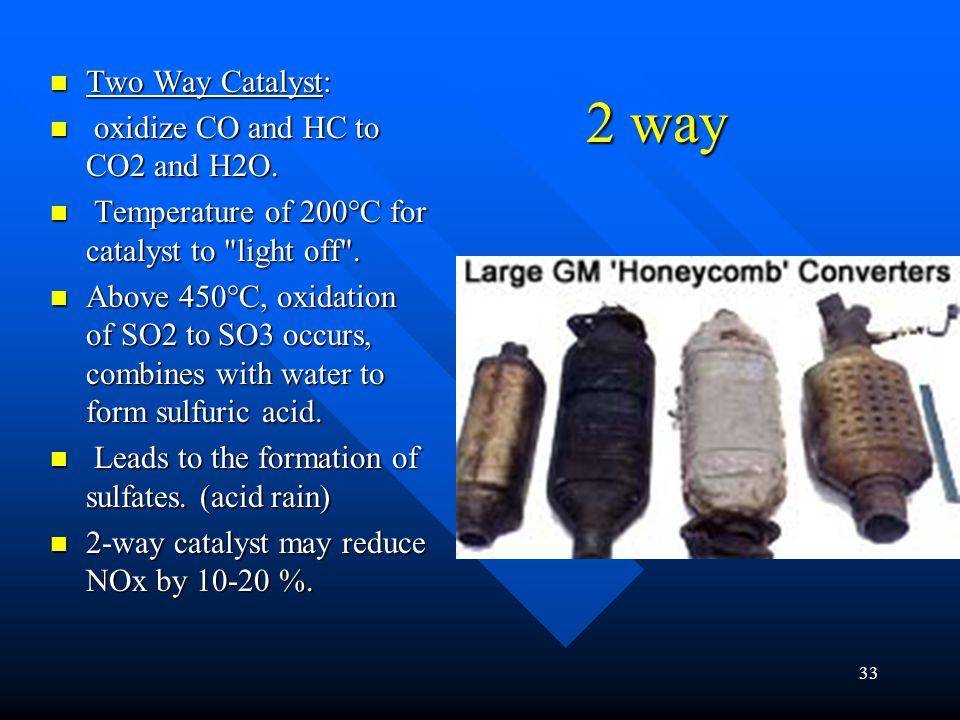 32 Catalytic Converter Contains precious metals Contains precious metals Down Stream O2 Down Stream O2 Re-burner Re-burner 2 way 2 way 3 way 3 way 3 w