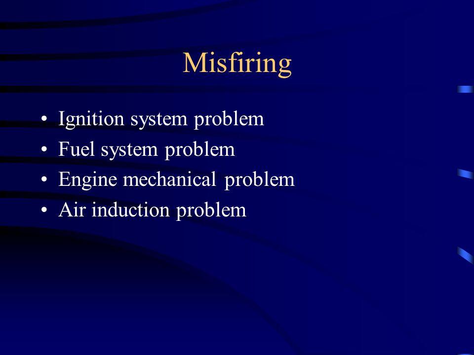 Misfiring Ignition system problem Fuel system problem Engine mechanical problem Air induction problem