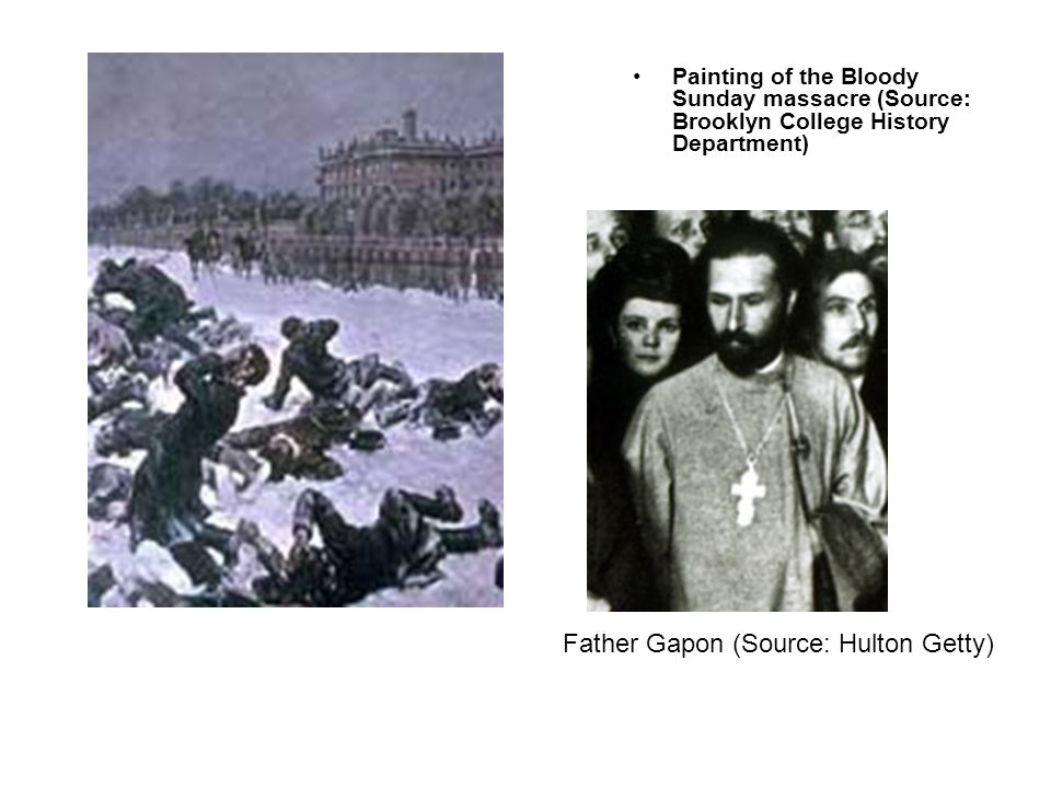 Painting of the Bloody Sunday massacre (Source: Brooklyn College History Department) Father Gapon (Source: Hulton Getty)