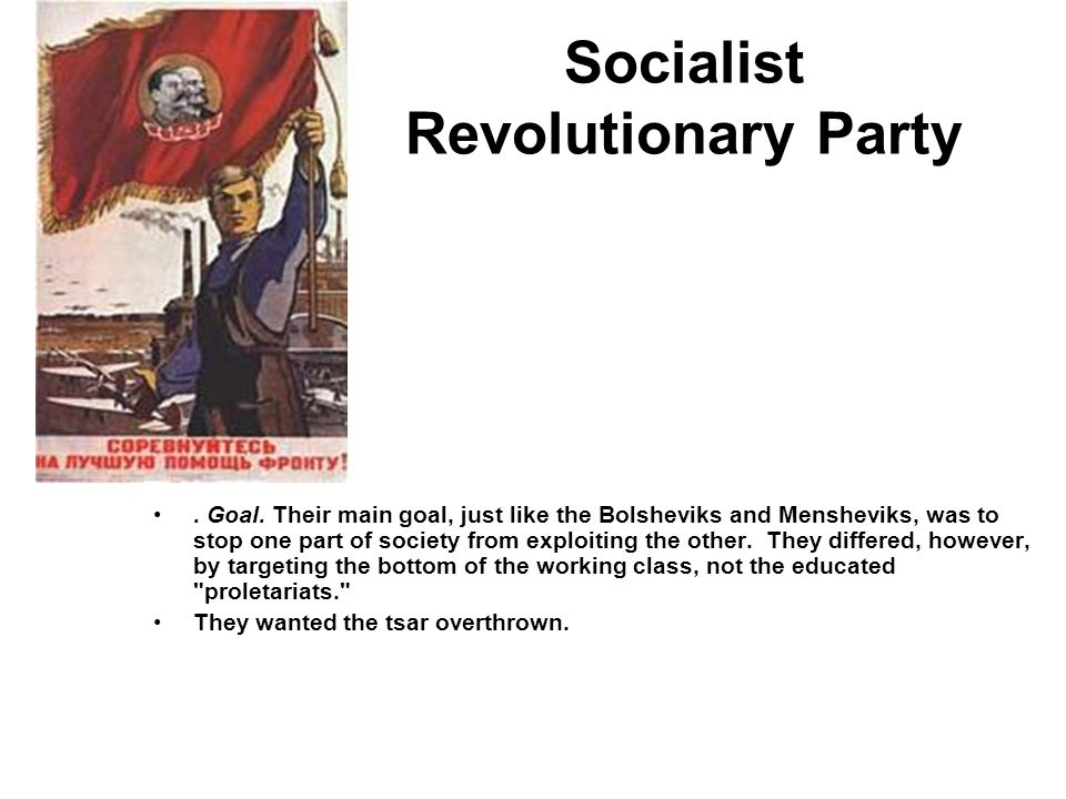 Socialist Revolutionary Party. Goal. Their main goal, just like the Bolsheviks and Mensheviks, was to stop one part of society from exploiting the oth