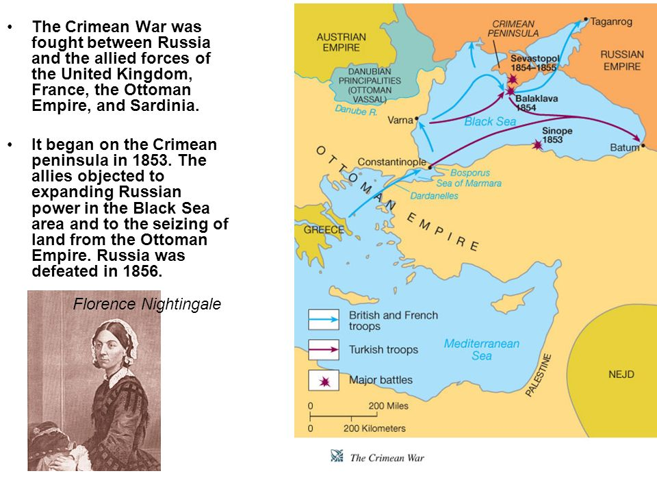 The Crimean War was fought between Russia and the allied forces of the United Kingdom, France, the Ottoman Empire, and Sardinia. It began on the Crime