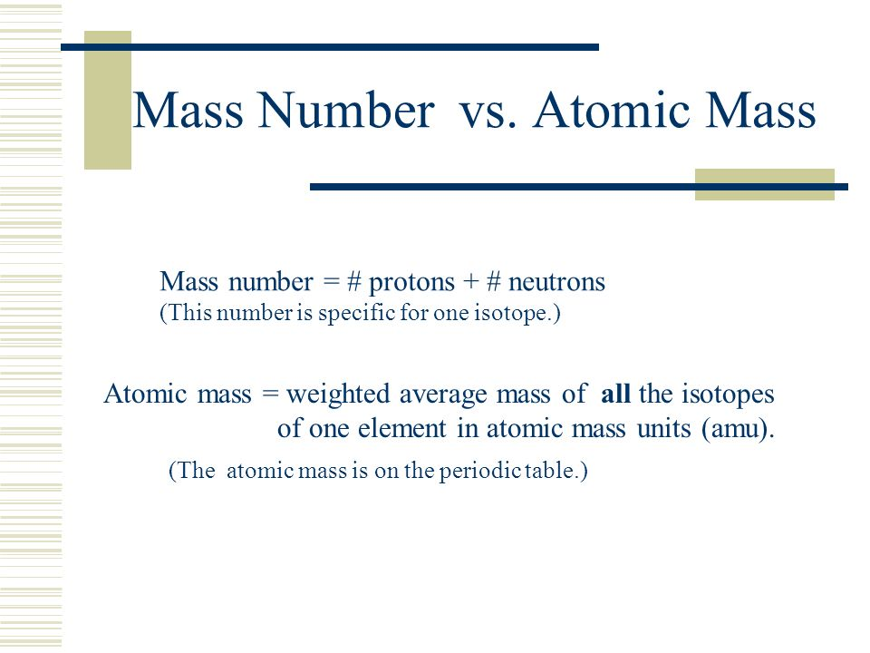 Mass Number vs. Atomic Mass Mass number = # protons + # neutrons (This number is specific for one isotope.) Atomic mass = weighted average mass of all