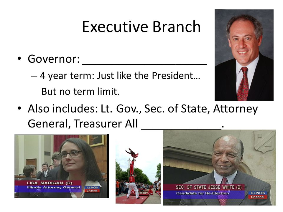 Executive Branch Governor: ____________________ – 4 year term: Just like the President… But no term limit. Also includes: Lt. Gov., Sec. of State, Att