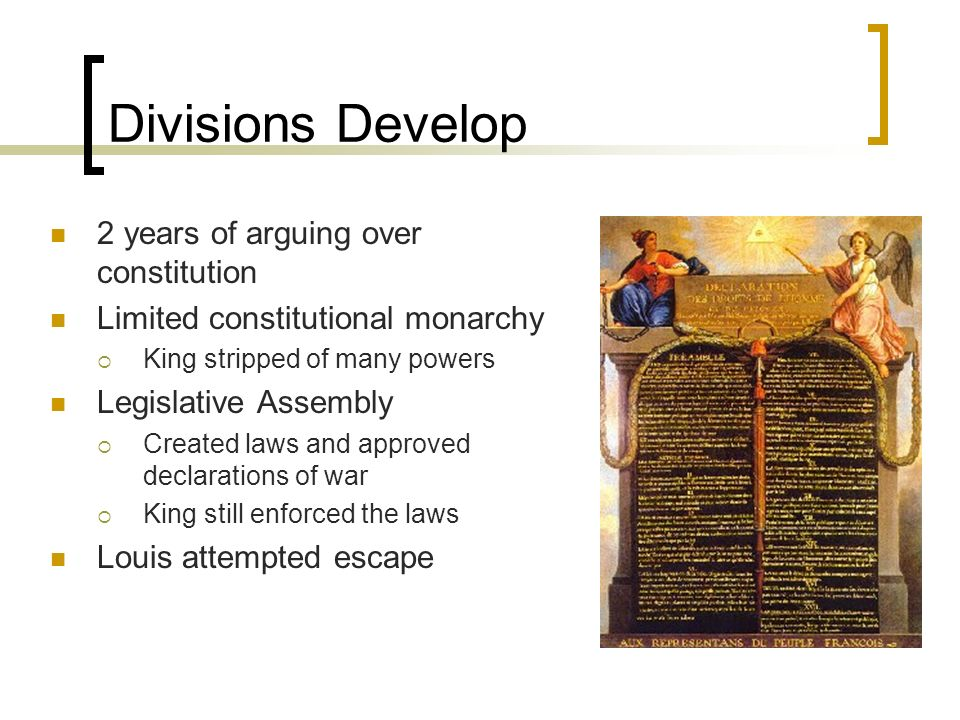 Divisions Develop 2 years of arguing over constitution Limited constitutional monarchy King stripped of many powers Legislative Assembly Created laws and approved declarations of war King still enforced the laws Louis attempted escape