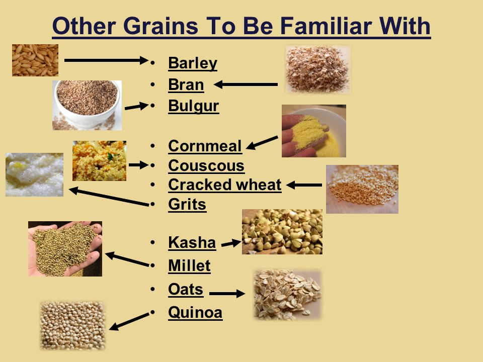Other Grains To Be Familiar With Barley Bran Bulgur Cornmeal Couscous Cracked wheat Grits Kasha Millet Oats Quinoa