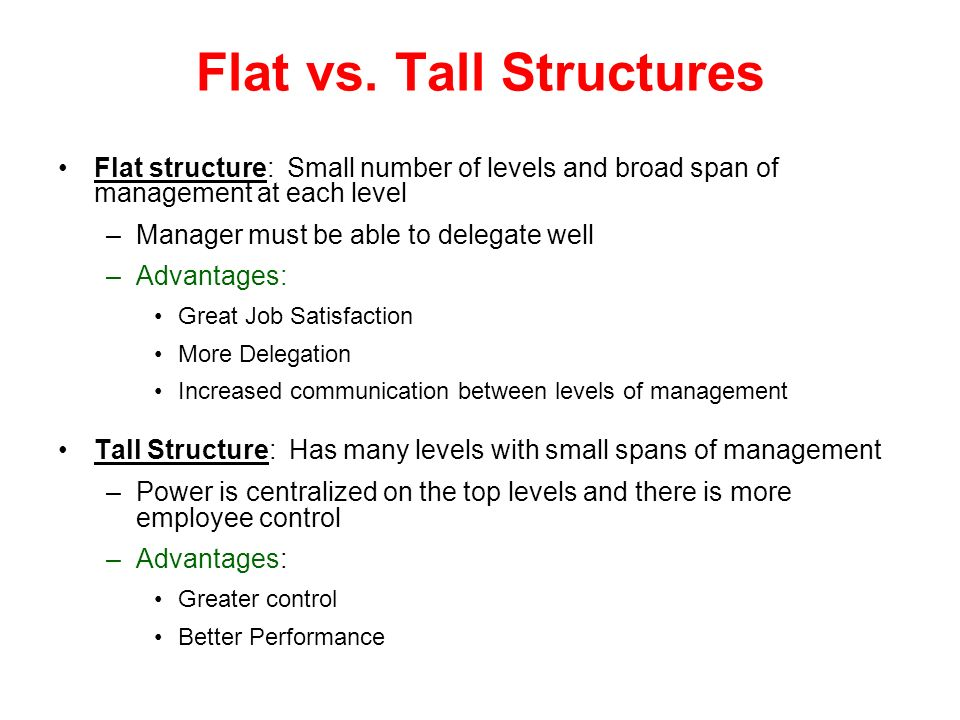 Flat vs. Tall Structures Flat structure: Small number of levels and broad span of management at each level –Manager must be able to delegate well –Adv