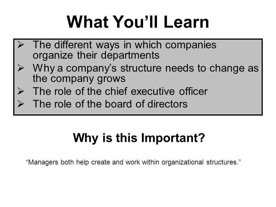 What Youll Learn The different ways in which companies organize their departments Why a companys structure needs to change as the company grows The role of the chief executive officer The role of the board of directors Why is this Important.