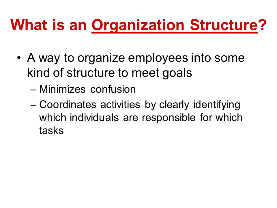 What is an Organization Structure.