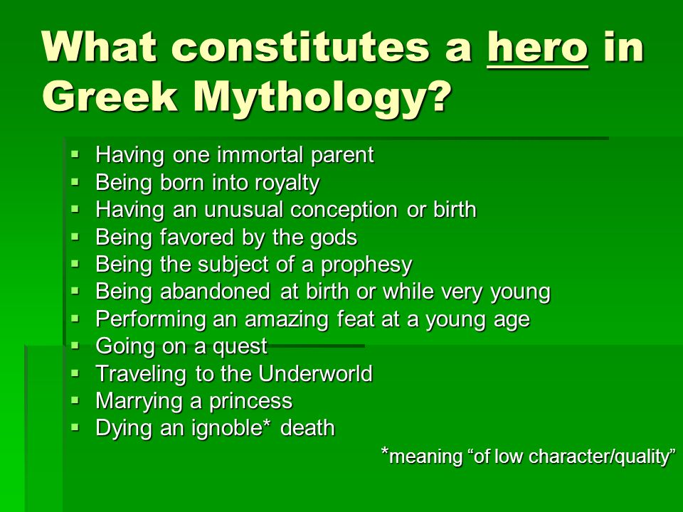 What constitutes a hero in Greek Mythology.