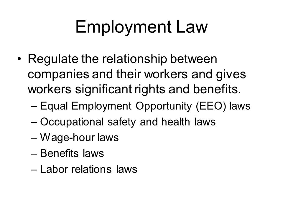 Employment Law Regulate the relationship between companies and their workers and gives workers significant rights and benefits. –Equal Employment Oppo