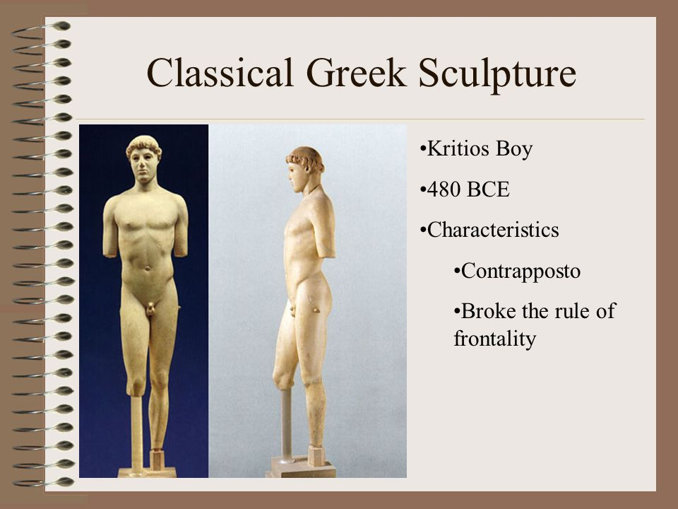 Classical Greek Sculpture Kritios Boy 480 BCE Characteristics Contrapposto Broke the rule of frontality