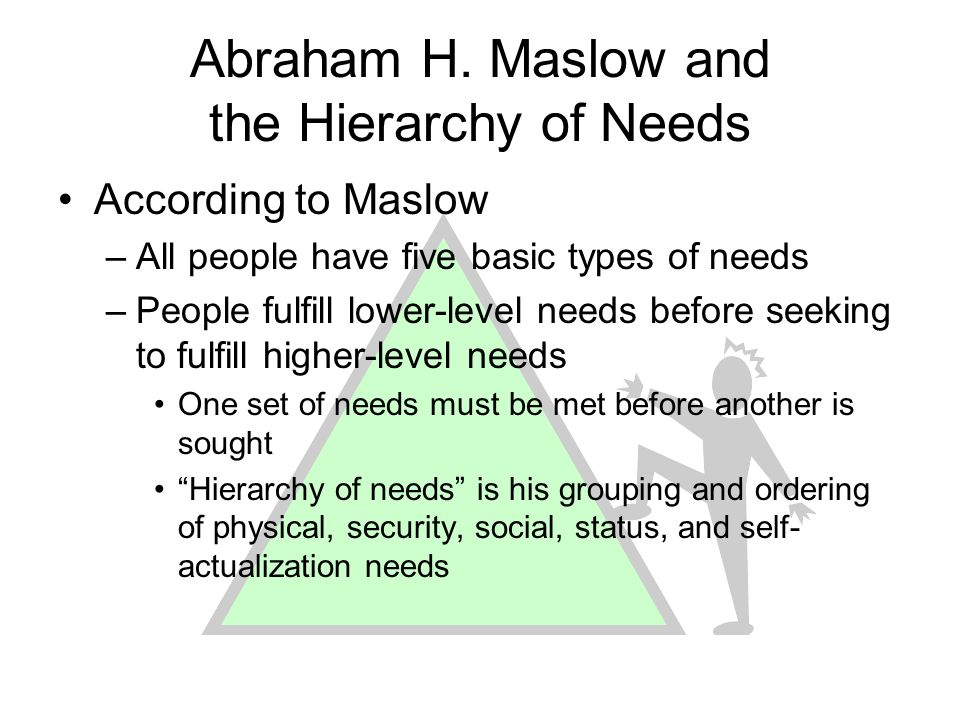 Abraham H. Maslow and the Hierarchy of Needs According to Maslow –All people have five basic types of needs –People fulfill lower-level needs before s