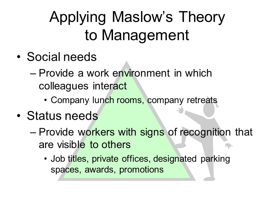 Applying Maslows Theory to Management Social needs –Provide a work environment in which colleagues interact Company lunch rooms, company retreats Stat