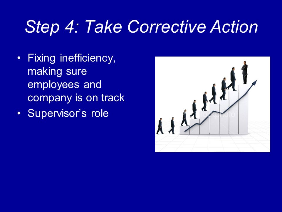 Step 4: Take Corrective Action Fixing inefficiency, making sure employees and company is on track Supervisors role