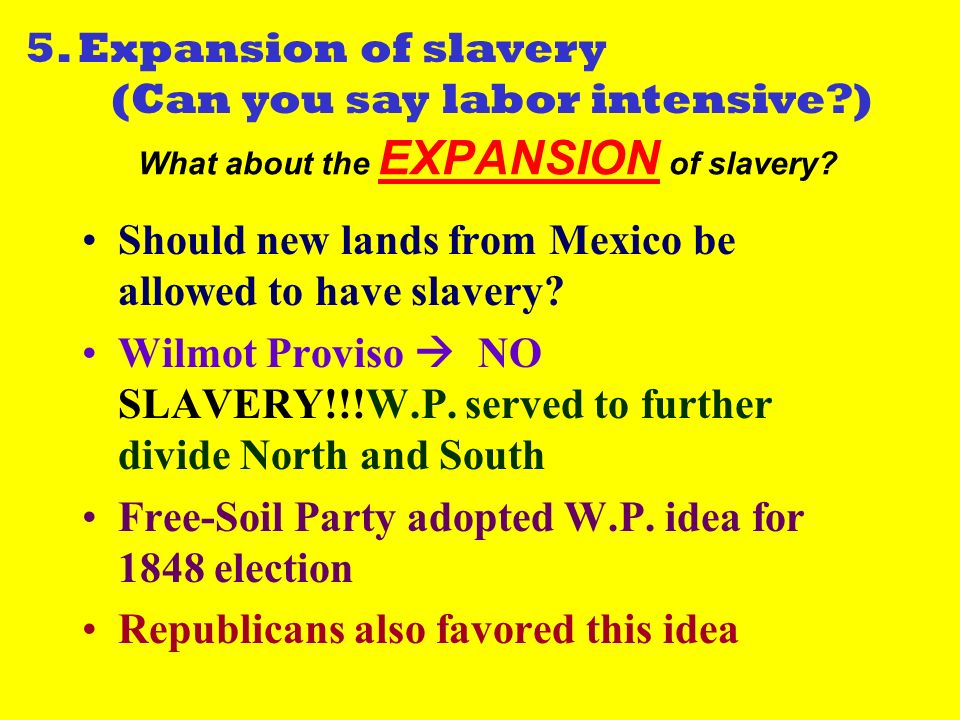 What about the EXPANSION of slavery. Should new lands from Mexico be allowed to have slavery.