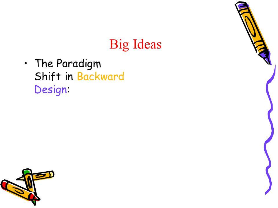 Big Ideas The Paradigm Shift in Backward Design: