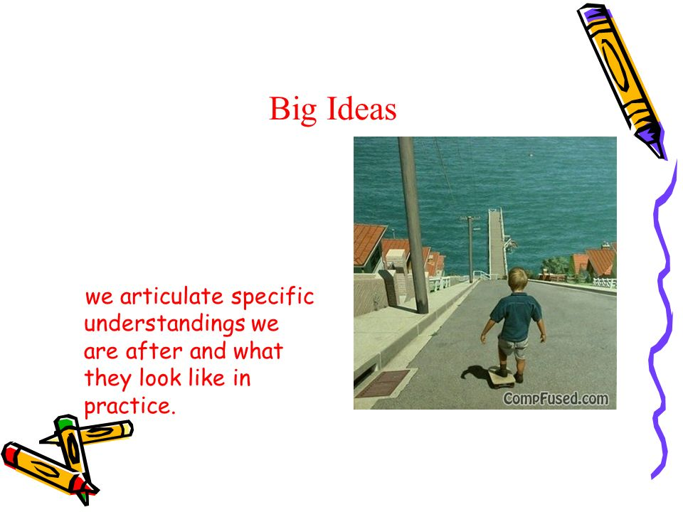 Big Ideas We cannot say how to teach for under- standing, or which materials and activities to use, we articulate specific understandings we are after and what they look like in practice.