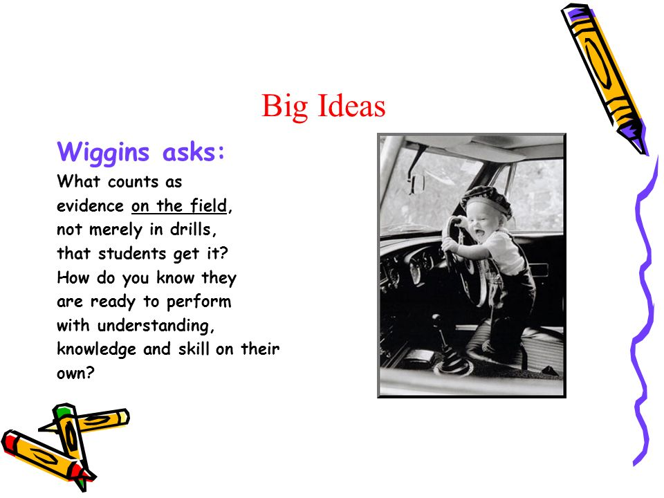 Big Ideas Wiggins asks: What counts as evidence on the field, not merely in drills, that students get it.
